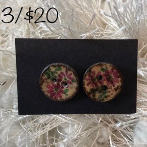 3/$20 Painted flower button earrings